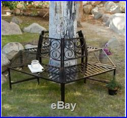 Steel Tree Surround Bench Wrap Around Seat Garden Enclose Scroll Back Furniture