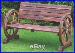 Stunning Brunt Wood Wagon Wheel Garden Bench 2 Seater Outdoor Patio Furniture
