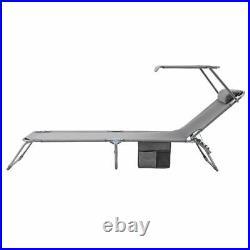 Sun Lounger Adjustable Foldable Back Rest Garden Chair Sunshade Patio Textilene