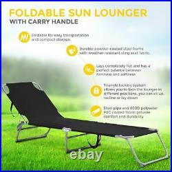 Sun Lounger Foldable Adjustable Back Rest Garden Chair Relaxer Patio Textilene