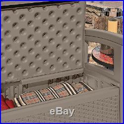 Suncast Elements BMWB5000DT Wicker Design Loveseat with Storage, Dark Taupe