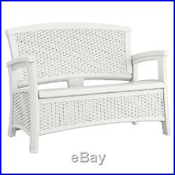Suncast Elements Resin Wicker Design Loveseat with Storage, White BMWB5000W