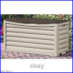 Suncast Outdoor Storage Box Wheels Backyard Garden Patio Deck Organize 83 Gal