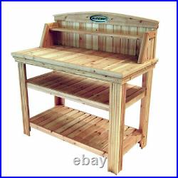 Suncast PT4500 Cedar Potting Bench with Natural Finish and Two Storage Shelves