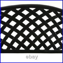 Sunnydaze 2-Person Black Checkered Cast Aluminum Outdoor Patio Garden Bench
