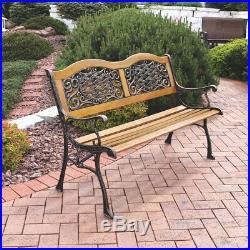 Sunnydaze 2-Person Ivy Crossweave Outdoor Cast Iron Wood Garden Patio Bench -49