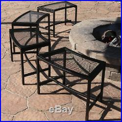 Sunnydaze Black Mesh Patio Fire Pit Benches 23 x 16 Inch Set of 4 Benches