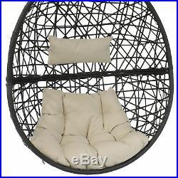 Sunnydaze Caroline Hanging Basket Egg Chair Swing- Resin Wicker Beige Cushions