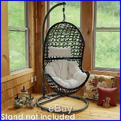 Sunnydaze Cordelia Hanging Basket Egg Chair Resin Wicker Beige Cushions