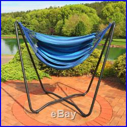 Sunnydaze Hanging Hammock Chair Swing with Space-Saving Stand Beach Oasis