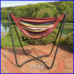 Sunnydaze Hanging Rope Hammock Chair Swing with Space-Saving Stand Sunset