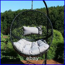 Sunnydaze Jackson Hanging Egg Chair Resin Wicker Gray Cushions