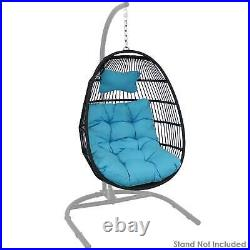 Sunnydaze Julia Hanging Egg Chair with Blue Cushions 44 Inches Tall