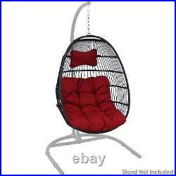 Sunnydaze Julia Hanging Egg Chair with Red Cushions 44 Inches Tall