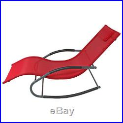 Sunnydaze Outdoor Rocking Wave Lounger Chair with Pillow Red Set of 2