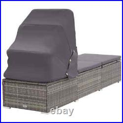 Swimming Pool Sun Lounger with Canopy Cushion Chaise Lounge Outdoor Patio Chair