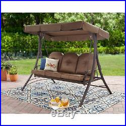 Swing 3 Person Canopy Cushioned Porch Outdoor Play Seat Hammock Backyard Patio