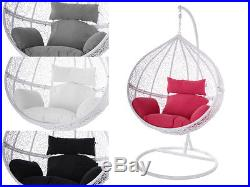 Swing Chair Hangestuhl Hangesessel Weiss Polyrattan Tropfen Kissen