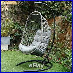 Swing Hanging Egg Wicker Chair Outdoor Garden Patio Hammock with Stand & Cushion