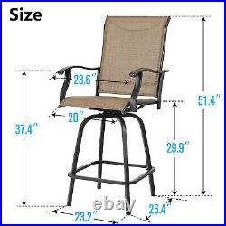 Swivel Patio Chairs Set of 4 Height Bar Stools High Back Outdoor Furnitures