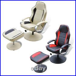 TV Recliner Chair Swivel Armchair with Ottoman Artificial Leather Cream/Black