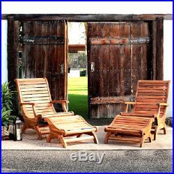 Teak Oiled Plantation Adirondack Outdoor Patio Deck Chair & Ottoman New