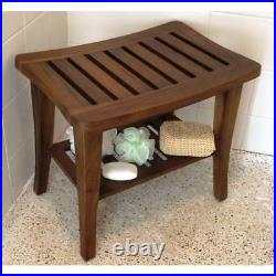 Teak Solid Wood Shower Bench Shelf Bath Seat Chair Spa Indoor Outdoor Bathroom