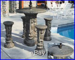 Tiki Table Set Outdoor Concrete Garden Furniture Patio Set