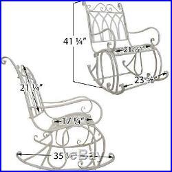 Titan Outdoor Antique Rocking Chair White Porch Patio Garden Seat Deck Decor