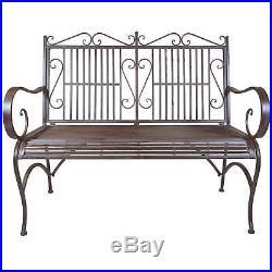 Titan Outdoor Metal Bench Chair Porch Patio Garden Deck Decor Rust Rustic