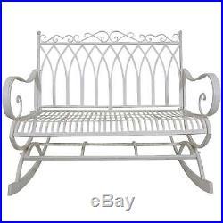 Titan Outdoor Metal Rocking Bench White Porch Patio Garden Seat Deck Decor