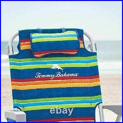Tommy Bahama Green Stripe Beach Chair Set with Matching Adjustable 8ft Umbrella