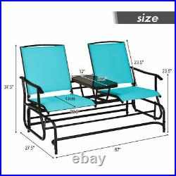 Topbuy Patio Loveseat Rocking 2 Person Double Glider Chair With Center Table