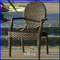 Townsgate Outdoor Transitional Oval-Back Wicker Chair