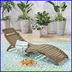 Tycie Outdoor Acacia Wood Foldable Chaise Lounge, Gray