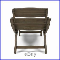 Tycie Outdoor Acacia Wood Foldable Chaise Lounge (Set of 2), Gray
