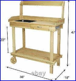 VILOBOS Garden Potting Bench Table Outdoor Planting Work Cabinet Shelf Drawer