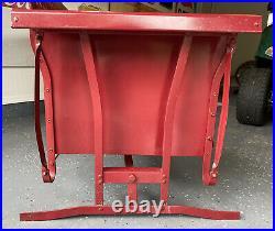 VINTAGE 1950s METAL THREE SEAT BASKET WEAVE PATTERN PORCH GLIDER / ROCKER