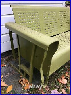 VINTAGE METAL 3-SEAT PORCH GLIDER c. 1950s