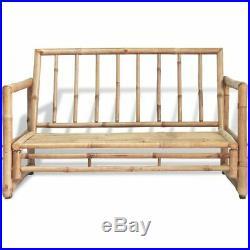 VidaXL 2 Seater Garden Sofa with Removable Cushions Bamboo Outdoor Patio Bench