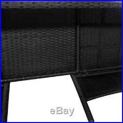 VidaXL 2-Seater Garden Sofa with Tea Table Poly Rattan Black Outdoor Bistro