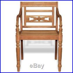 VidaXL 2 pc Teak Wood Dining Arm Chair Outdoor Garden Patio Furniture Batavia