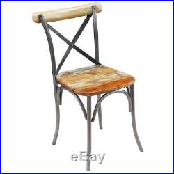 VidaXL 2x Dining Chair Solid Reclaimed Wood Metal Cafe Kitchen Cross Back Seat