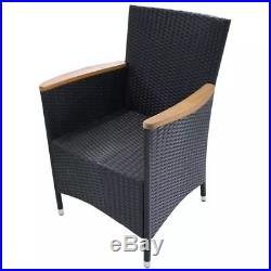 VidaXL 2x Garden Chairs Poly Rattan Wicker Black Outdoor Dining Chairs Patio