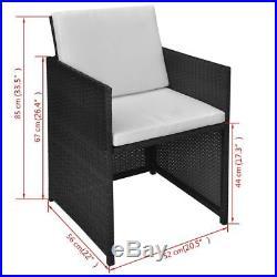 VidaXL 2x Outdoor Dining Chair Wicker Poly Rattan Black Garden Patio Seats