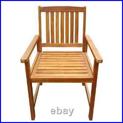 VidaXL 2x Solid Acacia Wood Garden Chairs Armrests Outdoor Dining Seating