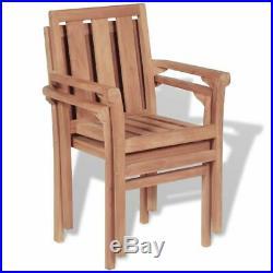 VidaXL 2x Solid Teak Wood Outdoor Chairs Patio Outdoor Garden Furniture Seat