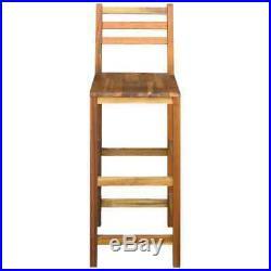 VidaXL 2x Solid Wood Bar Chair Indoor Outdoor High Stool Bistro Pub Restaurant