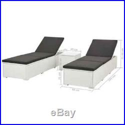 VidaXL 2x Sun Loungers with Table Poly Rattan White Pool Day Bed Garden Chair