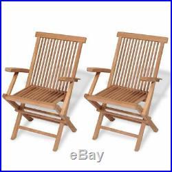 VidaXL 2x Teak Folding Chair Garden Outdoor Wooden Terrace Patio Balcony Seat